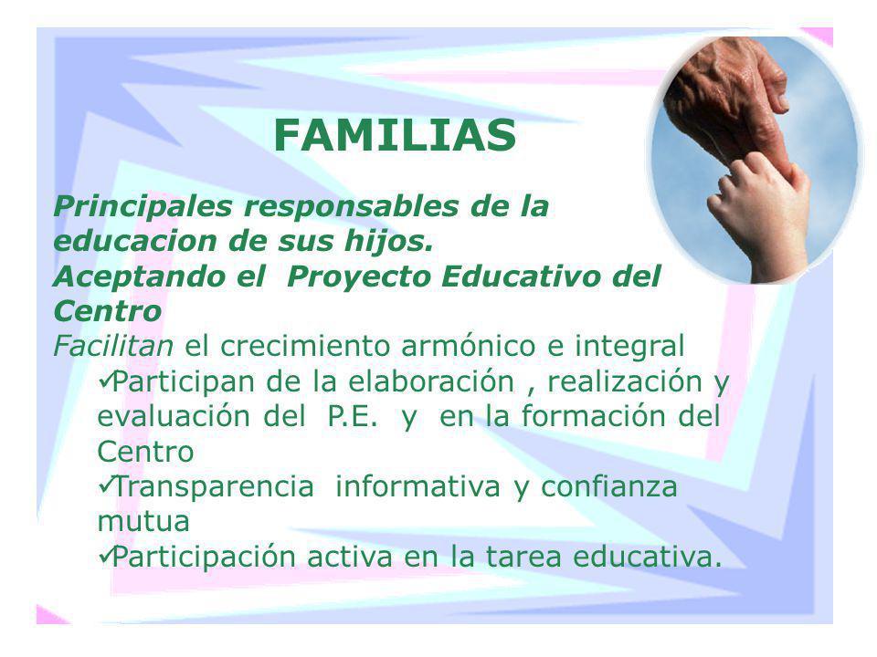 FAMILIAS Principales responsables de la educacion de sus hijos. Aceptando el Proyecto Educativo del Centro Facilitan el crecimiento armónico e integra