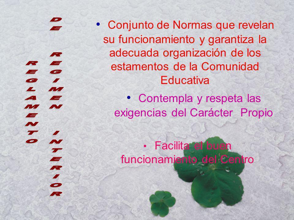 Conjunto de Normas que revelan su funcionamiento y garantiza la adecuada organización de los estamentos de la Comunidad Educativa Contempla y respeta