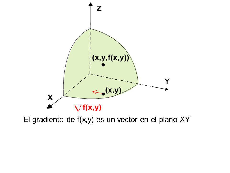 El gradiente de f(x,y) es un vector en el plano XY