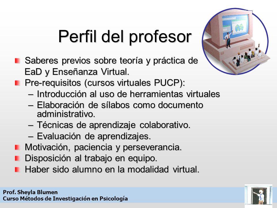 Perfil del profesor Saberes previos sobre teoría y práctica de EaD y Enseñanza Virtual.