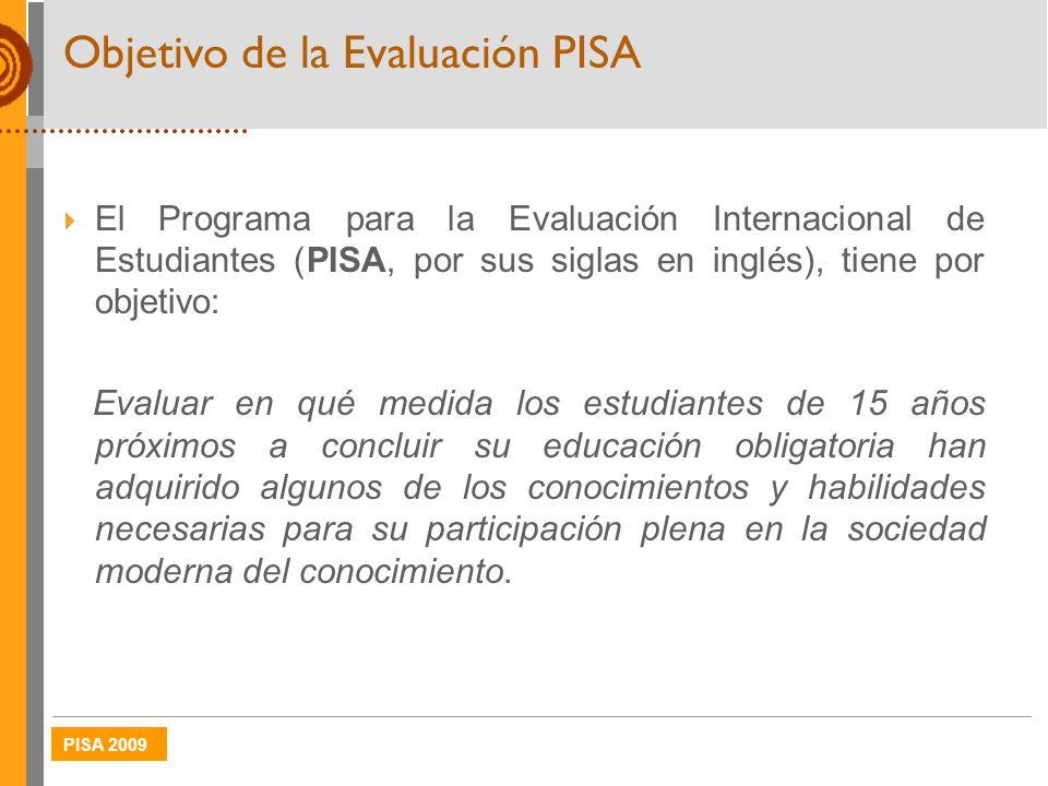 PISA 2009 Objetivo de la Evaluación PISA El Programa para la Evaluación Internacional de Estudiantes (PISA, por sus siglas en inglés), tiene por objet