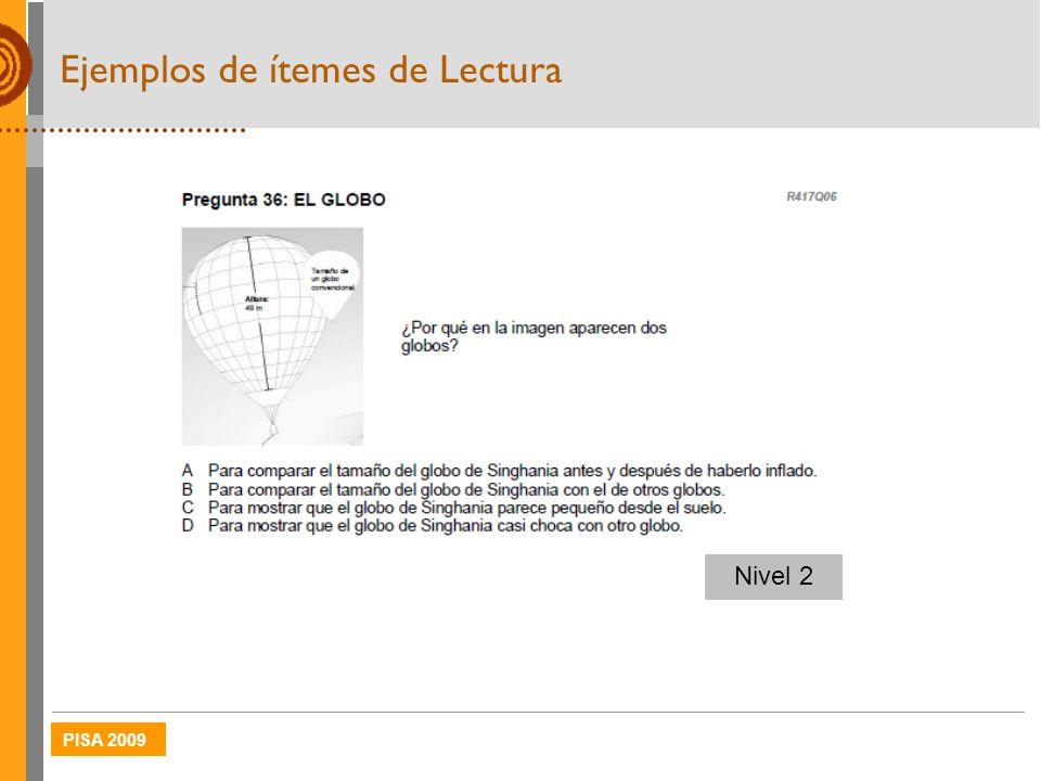 PISA 2009 Ejemplos de ítemes de Lectura Nivel 2