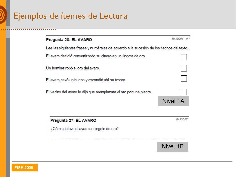 PISA 2009 Ejemplos de ítemes de Lectura Nivel 1B Nivel 1A