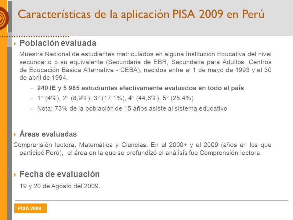 PISA 2009 Características de la aplicación PISA 2009 en Perú Población evaluada Muestra Nacional de estudiantes matriculados en alguna Institución Edu