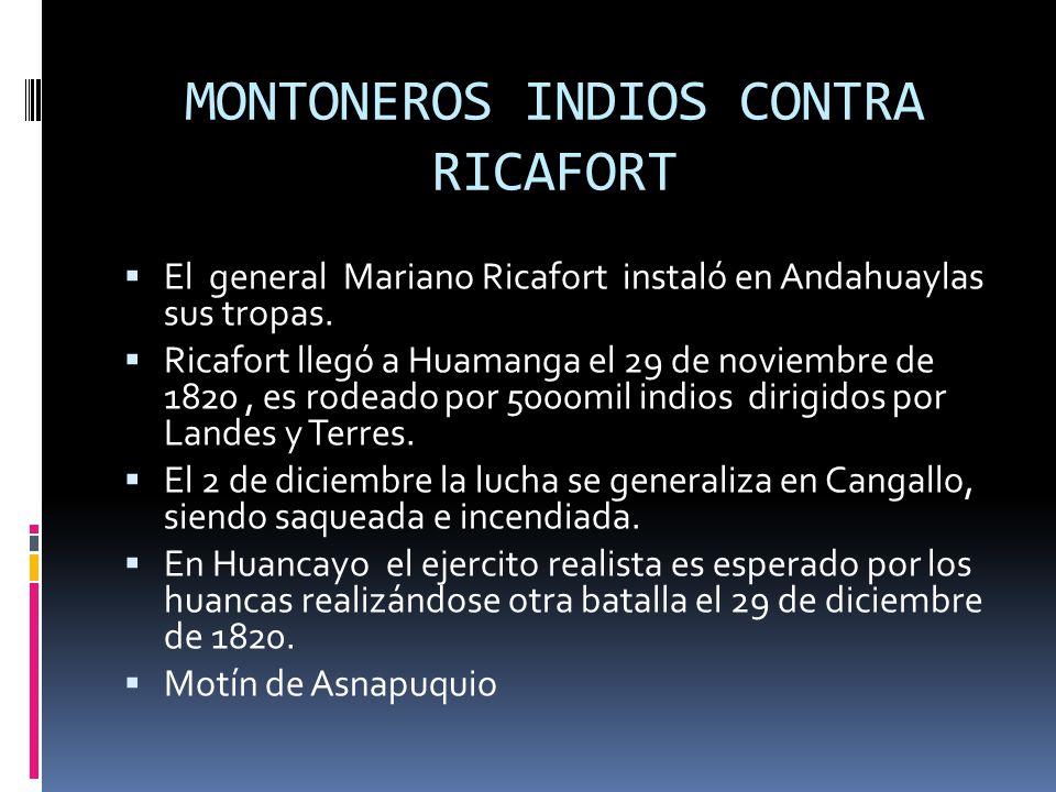 LA GRAN BATALLA DE QUIAPATA El ejercito de Ricafort el 2 de mayo de 1821, cuando avanzaban por la quebrada de Quiapata, se vieron rodeados por las fuerzas de los guerrilleros Cayetano Quiroz y Alejandro Huavique.