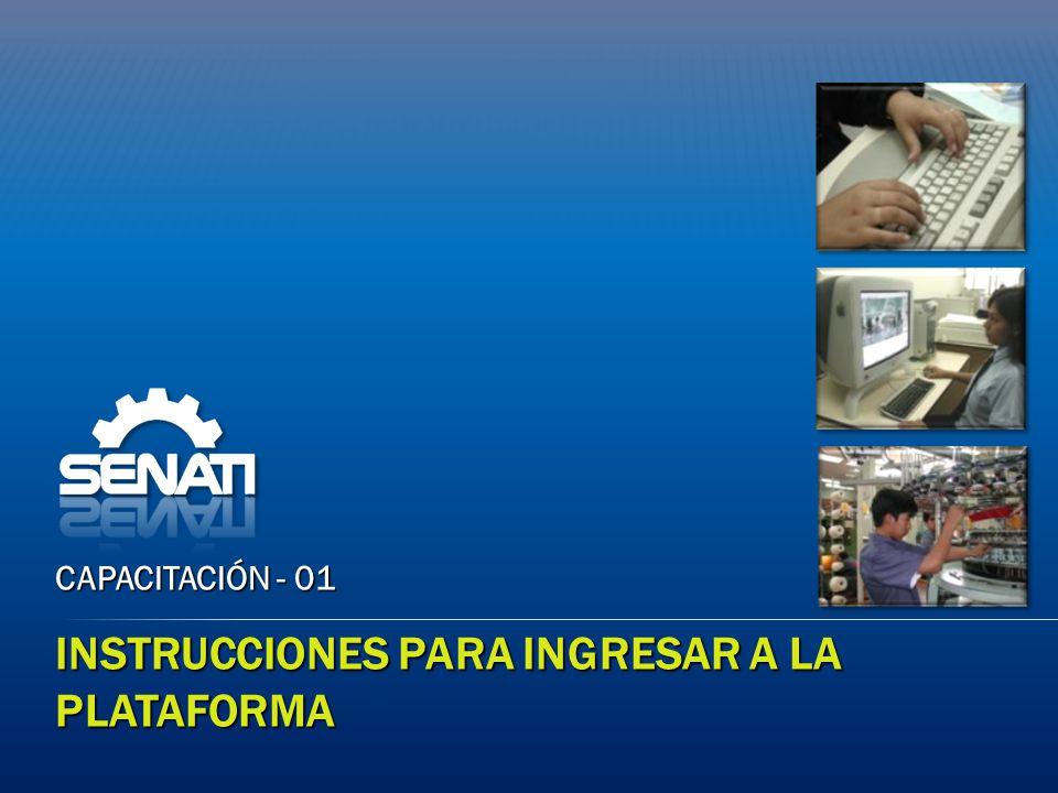 INSTRUCCIONES PARA INGRESAR A LA PLATAFORMA CAPACITACIÓN - 01