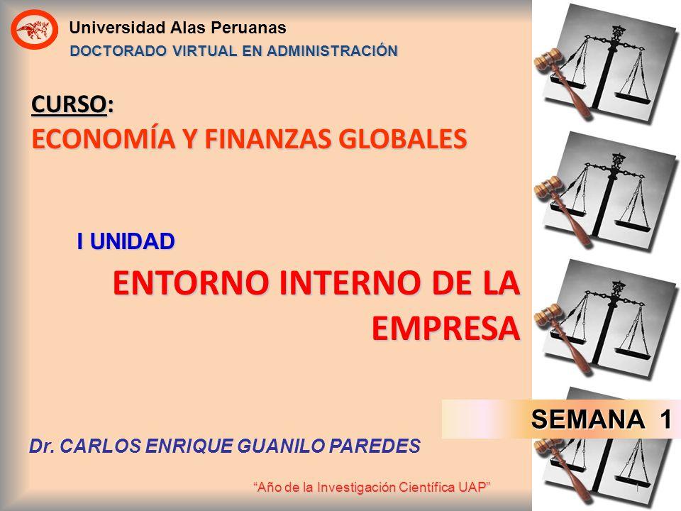 Universidad Alas Peruanas Año de la Investigación Científica UAP 1 CURSO: ECONOMÍA Y FINANZAS GLOBALES ENTORNO INTERNO DE LA EMPRESA I UNIDAD DOCTORAD
