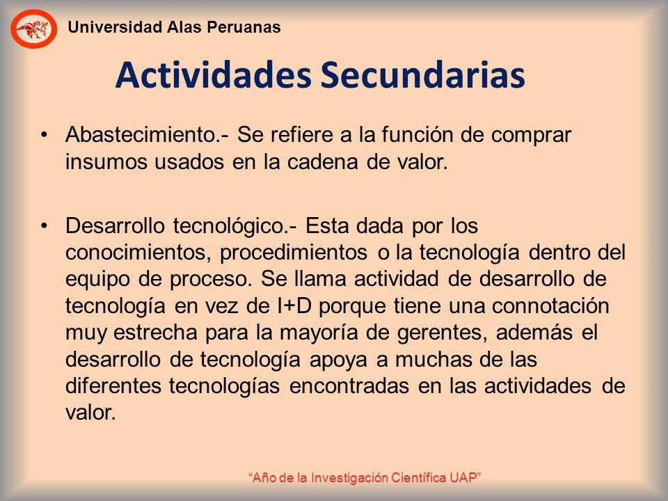 Universidad Alas Peruanas Año de la Investigación Científica UAP Actividades Secundarias Abastecimiento.- Se refiere a la función de comprar insumos u