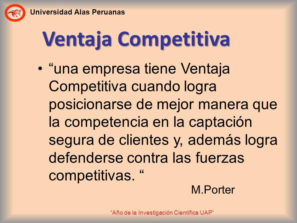 Universidad Alas Peruanas Año de la Investigación Científica UAP Ventaja Competitiva una empresa tiene Ventaja Competitiva cuando logra posicionarse d