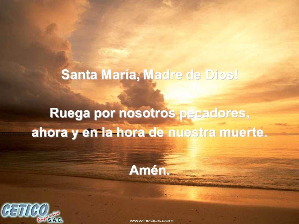 Santa María, Madre de Dios.Ruega por nosotros pecadores, ahora y en la hora de nuestra muerte.