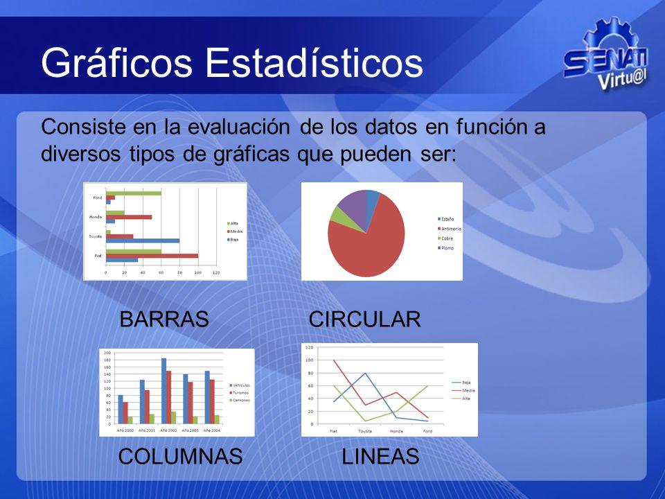 Gráficos Estadísticos Consiste en la evaluación de los datos en función a diversos tipos de gráficas que pueden ser: BARRAS CIRCULAR COLUMNAS LINEAS