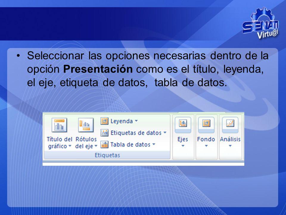 Seleccionar las opciones necesarias dentro de la opción Presentación como es el título, leyenda, el eje, etiqueta de datos, tabla de datos.