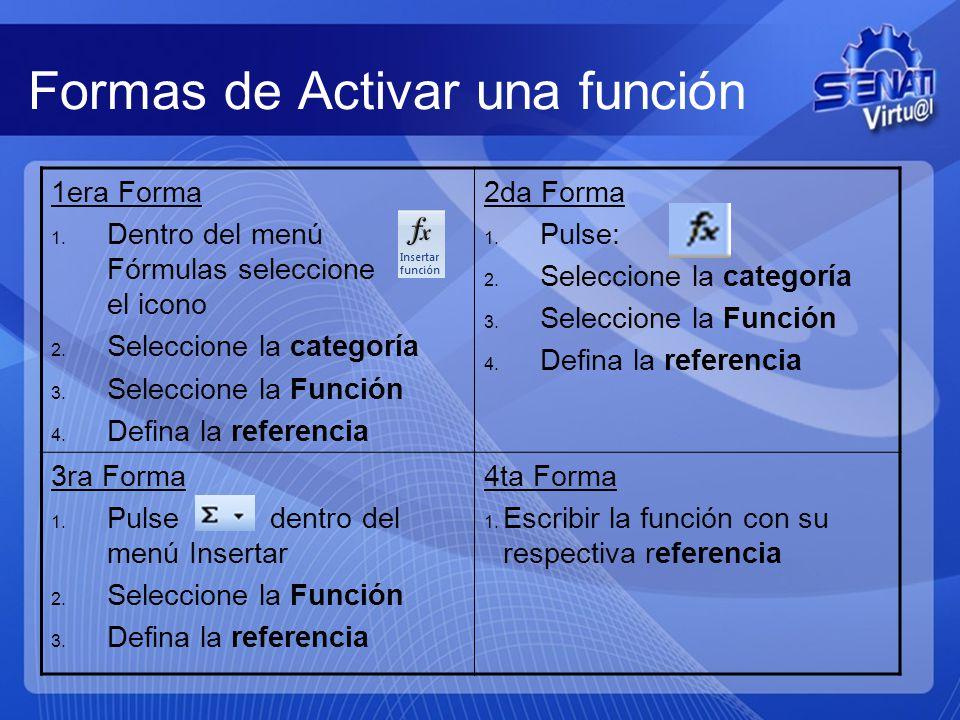 Formas de Activar una función 1era Forma 1.Dentro del menú Fórmulas seleccione el icono 2.