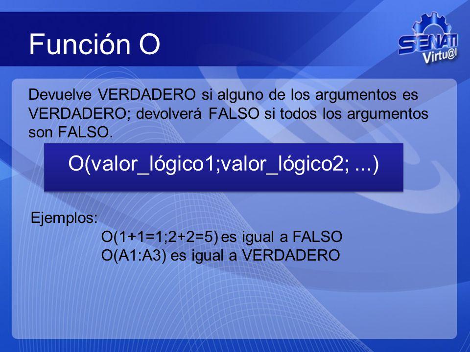 Función O Devuelve VERDADERO si alguno de los argumentos es VERDADERO; devolverá FALSO si todos los argumentos son FALSO.