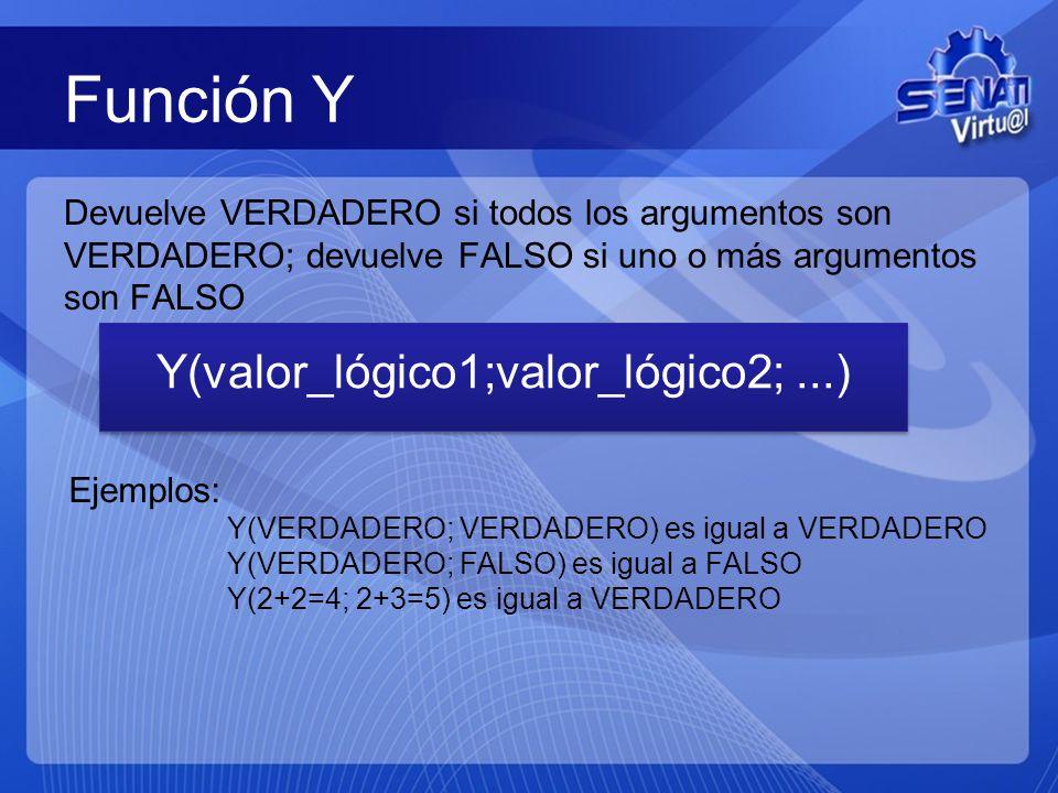 Función Y Devuelve VERDADERO si todos los argumentos son VERDADERO; devuelve FALSO si uno o más argumentos son FALSO Y(valor_lógico1;valor_lógico2;...) Ejemplos: Y(VERDADERO; VERDADERO) es igual a VERDADERO Y(VERDADERO; FALSO) es igual a FALSO Y(2+2=4; 2+3=5) es igual a VERDADERO