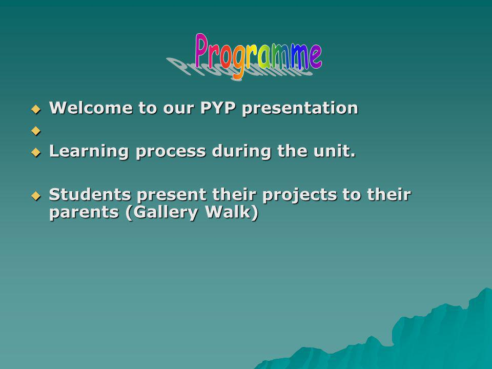 Welcome to our PYP presentation Welcome to our PYP presentation Learning process during the unit. Learning process during the unit. Students present t