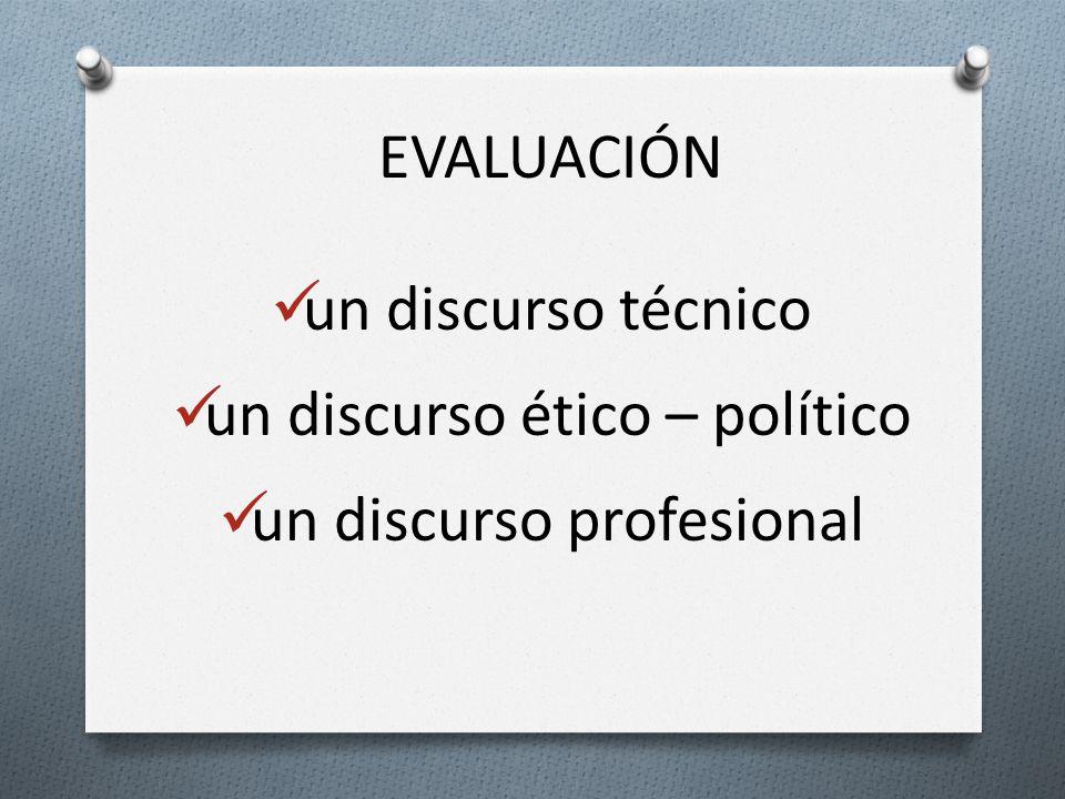 EVALUACIÓN un discurso técnico un discurso ético – político un discurso profesional