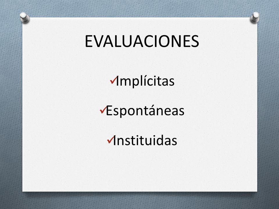 EVALUACIONES Implícitas Espontáneas Instituidas