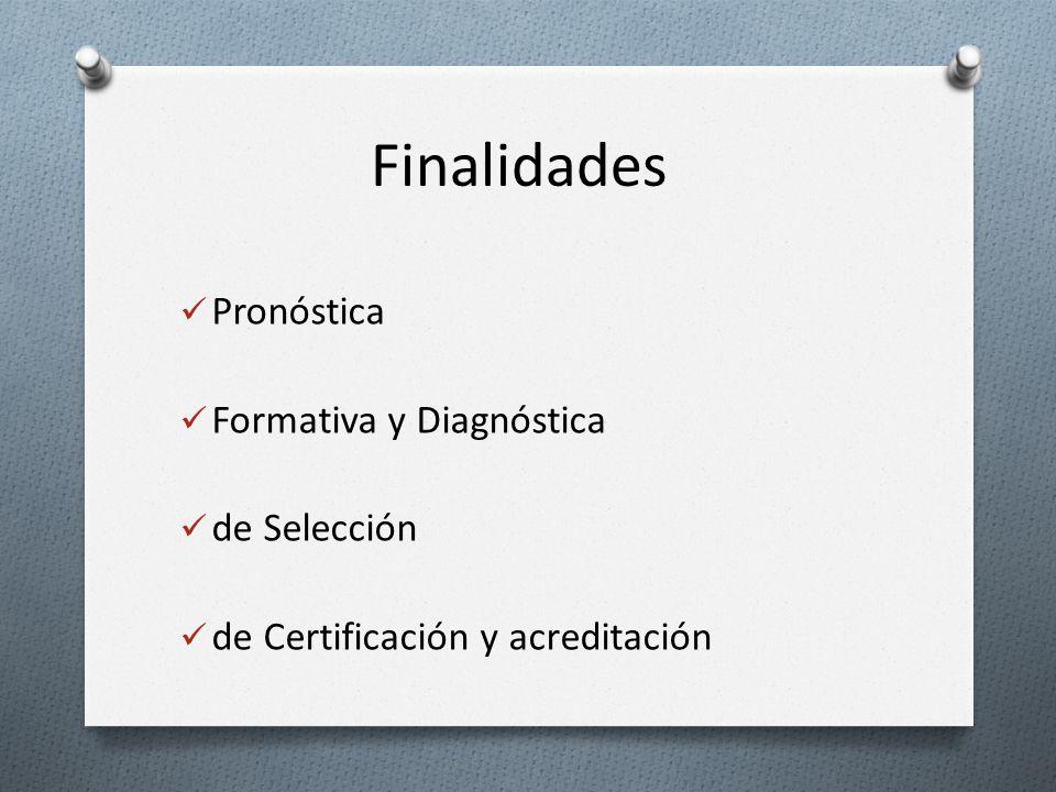 Finalidades Pronóstica Formativa y Diagnóstica de Selección de Certificación y acreditación
