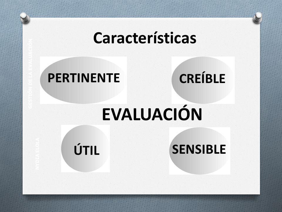 NYDIA ELOLA GESTIÓN DE LA EVALUACIÓN PERTINENTE CREÍBLE ÚTIL SENSIBLE EVALUACIÓN Características