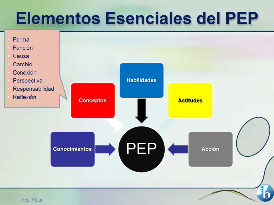 Forma Función Causa Cambio Conexión Perspectiva Responsabilidad Reflexión Ms. Pilar Elementos Esenciales del PEP