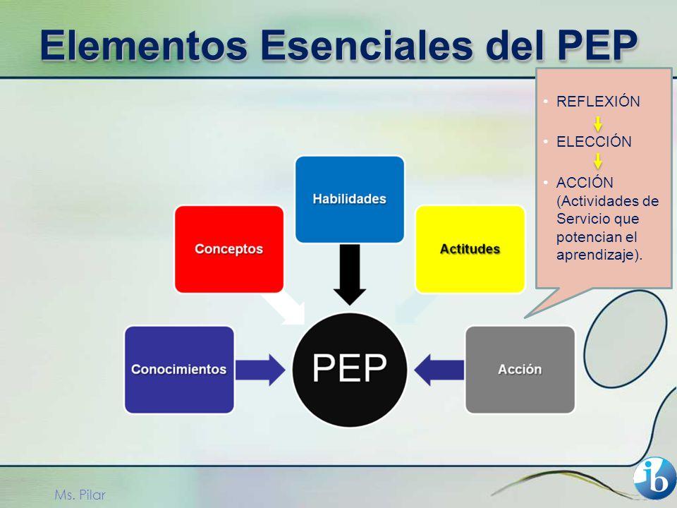 REFLEXIÓN ELECCIÓN ACCIÓN (Actividades de Servicio que potencian el aprendizaje). Ms. Pilar Elementos Esenciales del PEP