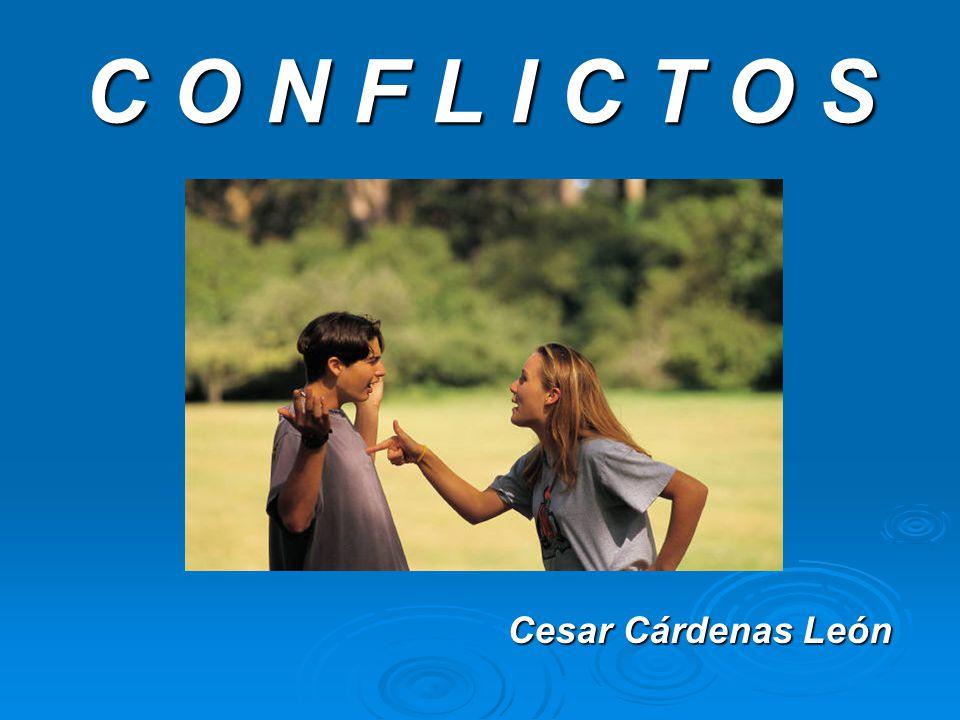 EL CONFLICTO CONFLICTO: Es un desacuerdo que surge entre dos o más personas a partir de opiniones o actitudes que consideran opuestas y que amenazan sus intereses, recursos o valores.