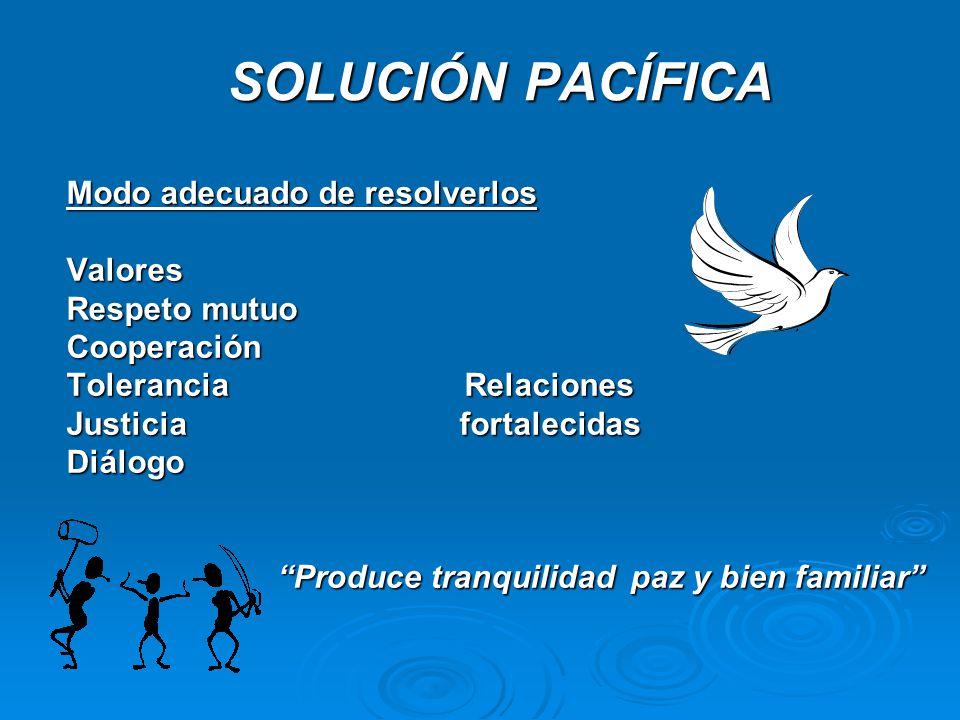 SOLUCIÓN PACÍFICA SOLUCIÓN PACÍFICA Modo adecuado de resolverlos Valores Respeto mutuo Cooperación Tolerancia Relaciones Justicia fortalecidas Diálogo
