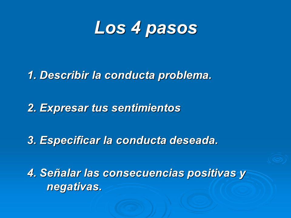 Los 4 pasos 1. Describir la conducta problema. 2. Expresar tus sentimientos 3. Especificar la conducta deseada. 4. Señalar las consecuencias positivas