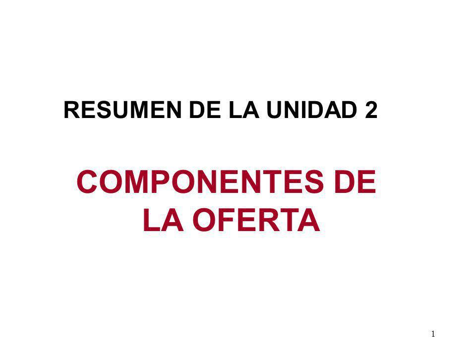 1 COMPONENTES DE LA OFERTA RESUMEN DE LA UNIDAD 2