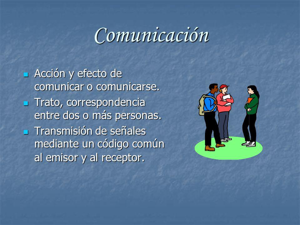 Comunicación Acción y efecto de comunicar o comunicarse.
