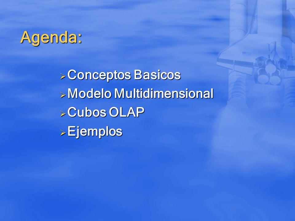 Agenda: Conceptos Basicos Conceptos Basicos Modelo Multidimensional Modelo Multidimensional Cubos OLAP Cubos OLAP Ejemplos Ejemplos