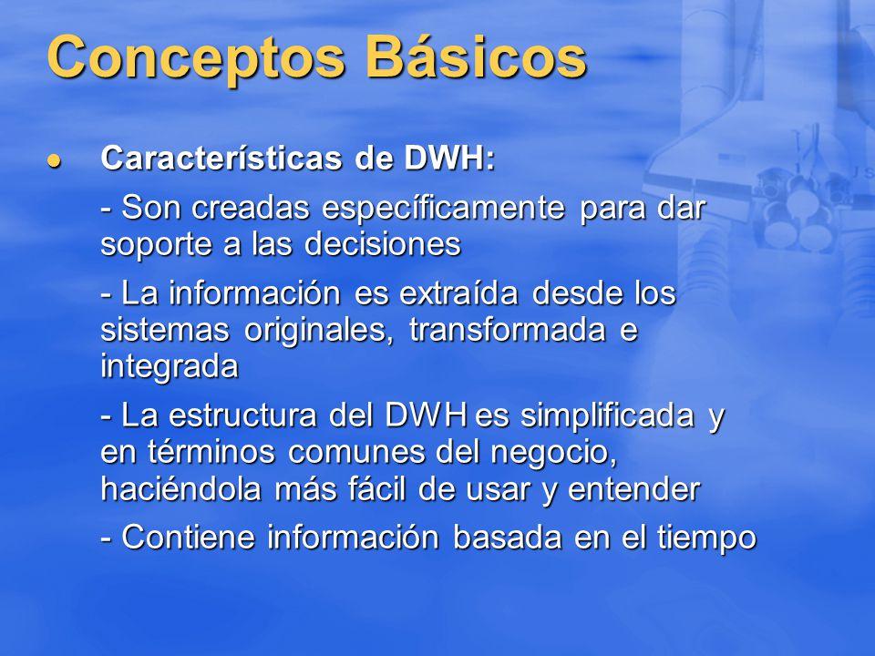 Conceptos Básicos Características de DWH: Características de DWH: - Son creadas específicamente para dar soporte a las decisiones - La información es