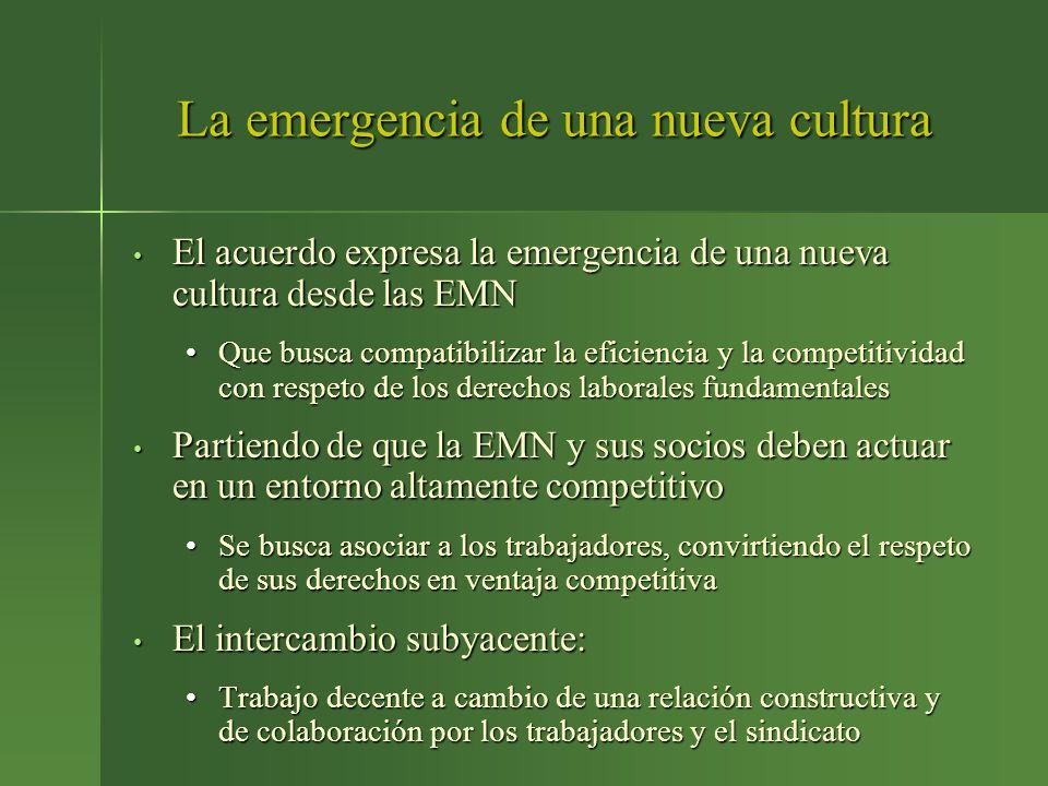 La emergencia de una nueva cultura El acuerdo expresa la emergencia de una nueva cultura desde las EMN El acuerdo expresa la emergencia de una nueva c