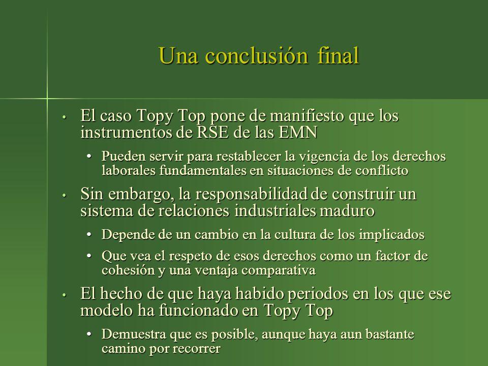 Una conclusión final El caso Topy Top pone de manifiesto que los instrumentos de RSE de las EMN El caso Topy Top pone de manifiesto que los instrument