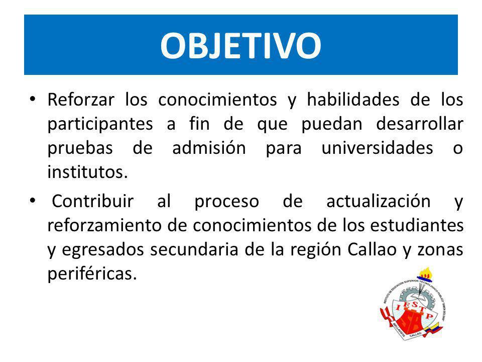 Duración: Del 16 de Septiembre al 06 de Diciembre del 2013Frecuencia: De lunes a viernes de 13:50pm a 6:00pm 300 horas pedagógicas de reforzamiento.Inversión: Regular: 3 cuotas de S/.