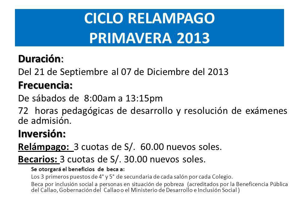 Duración: Del 21 de Septiembre al 07 de Diciembre del 2013Frecuencia: De sábados de 8:00am a 13:15pm 72 horas pedagógicas de desarrollo y resolución de exámenes de admisión.Inversión: Relámpago: 3 cuotas de S/.