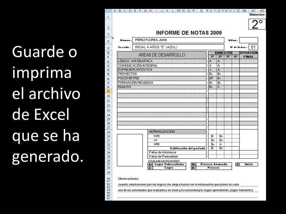 Guarde o imprima el archivo de Excel que se ha generado.
