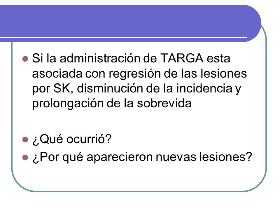 Si la administración de TARGA esta asociada con regresión de las lesiones por SK, disminución de la incidencia y prolongación de la sobrevida ¿Qué ocurrió.