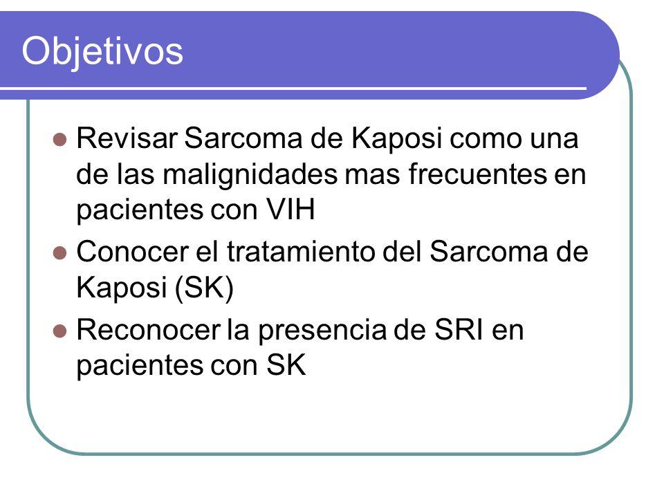 Objetivos Revisar Sarcoma de Kaposi como una de las malignidades mas frecuentes en pacientes con VIH Conocer el tratamiento del Sarcoma de Kaposi (SK) Reconocer la presencia de SRI en pacientes con SK