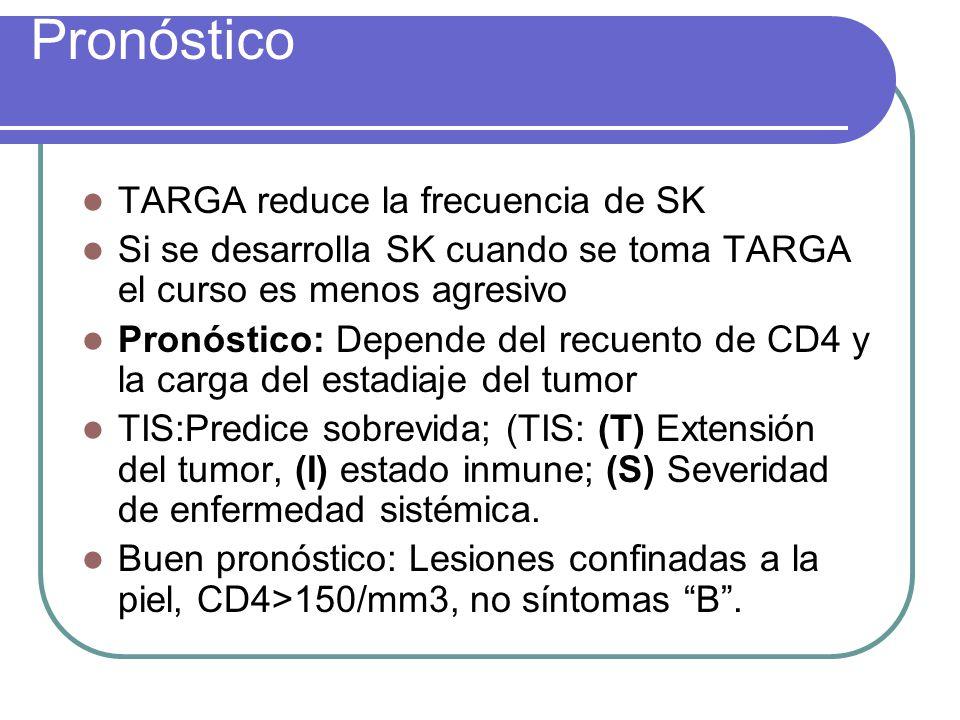 Pronóstico TARGA reduce la frecuencia de SK Si se desarrolla SK cuando se toma TARGA el curso es menos agresivo Pronóstico: Depende del recuento de CD4 y la carga del estadiaje del tumor TIS:Predice sobrevida; (TIS: (T) Extensión del tumor, (I) estado inmune; (S) Severidad de enfermedad sistémica.