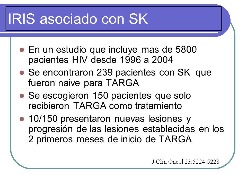 IRIS asociado con SK En un estudio que incluye mas de 5800 pacientes HIV desde 1996 a 2004 Se encontraron 239 pacientes con SK que fueron naive para TARGA Se escogieron 150 pacientes que solo recibieron TARGA como tratamiento 10/150 presentaron nuevas lesiones y progresión de las lesiones establecidas en los 2 primeros meses de inicio de TARGA J Clin Oncol 23:5224-5228