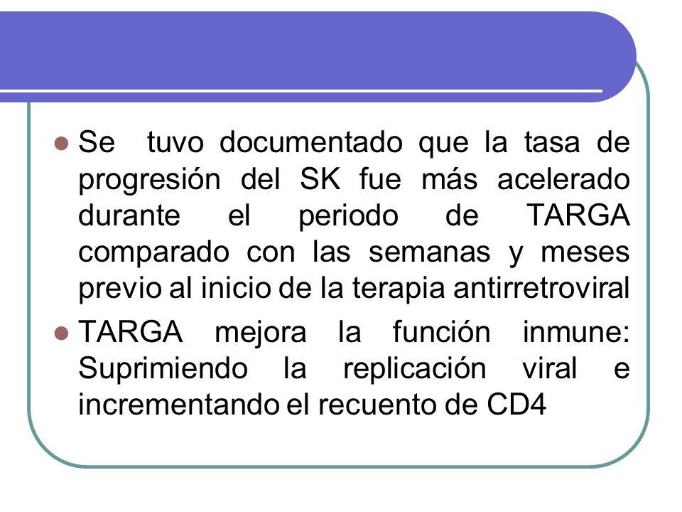 Se tuvo documentado que la tasa de progresión del SK fue más acelerado durante el periodo de TARGA comparado con las semanas y meses previo al inicio de la terapia antirretroviral TARGA mejora la función inmune: Suprimiendo la replicación viral e incrementando el recuento de CD4