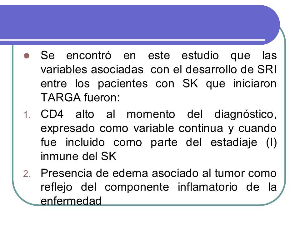 Se encontró en este estudio que las variables asociadas con el desarrollo de SRI entre los pacientes con SK que iniciaron TARGA fueron: 1.