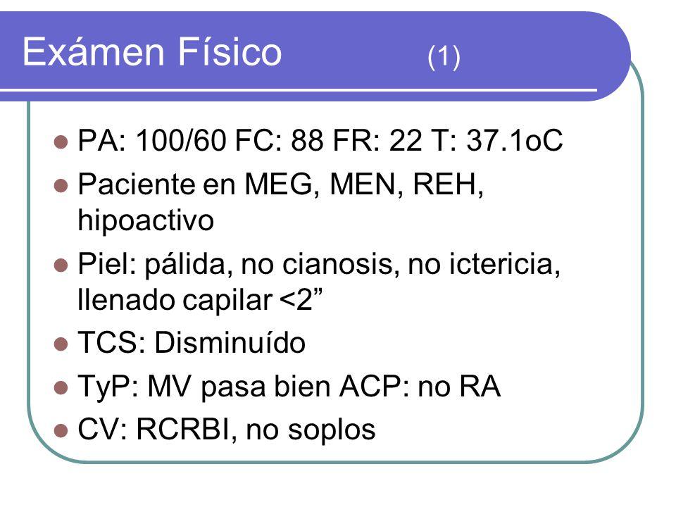 Exámen Físico (1) PA: 100/60 FC: 88 FR: 22 T: 37.1oC Paciente en MEG, MEN, REH, hipoactivo Piel: pálida, no cianosis, no ictericia, llenado capilar <2 TCS: Disminuído TyP: MV pasa bien ACP: no RA CV: RCRBI, no soplos