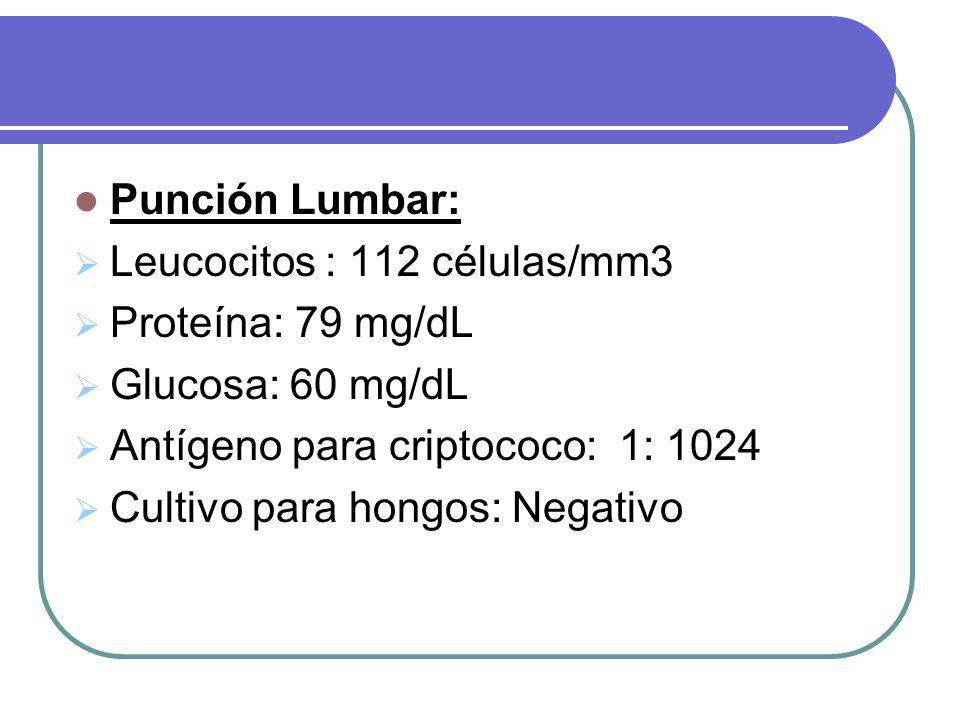Punción Lumbar: Leucocitos : 112 células/mm3 Proteína: 79 mg/dL Glucosa: 60 mg/dL Antígeno para criptococo: 1: 1024 Cultivo para hongos: Negativo