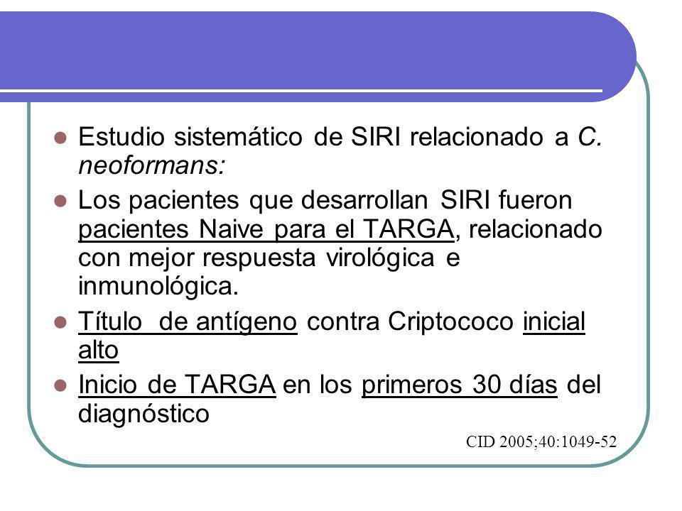 Estudio sistemático de SIRI relacionado a C.