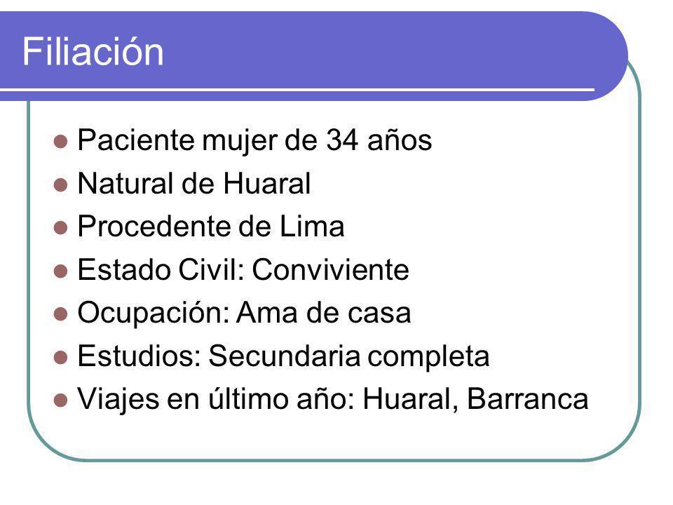 Filiación Paciente mujer de 34 años Natural de Huaral Procedente de Lima Estado Civil: Conviviente Ocupación: Ama de casa Estudios: Secundaria completa Viajes en último año: Huaral, Barranca