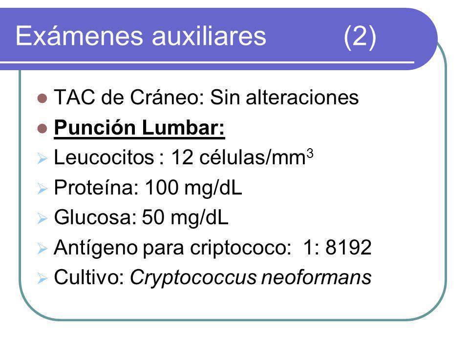 TAC de Cráneo: Sin alteraciones Punción Lumbar: Leucocitos : 12 células/mm 3 Proteína: 100 mg/dL Glucosa: 50 mg/dL Antígeno para criptococo: 1: 8192 Cultivo: Cryptococcus neoformans Exámenes auxiliares(2)