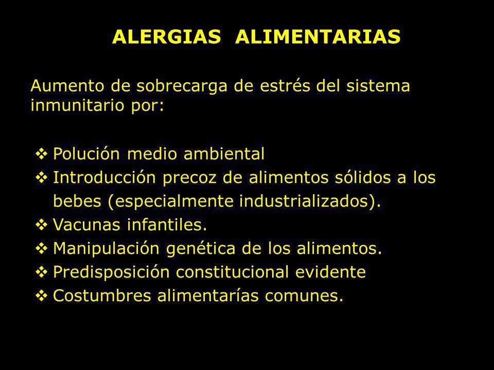 ALERGIAS ALIMENTARIAS Aumento de sobrecarga de estrés del sistema inmunitario por: Polución medio ambiental Introducción precoz de alimentos sólidos a